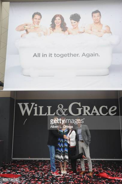 Actors Sean Hayes Debra Messing Megan Mullally and Eric McCormack at the 'Will Grace' Ribbon Cutting Ceremony held on August 2 2017 in Los Angeles...