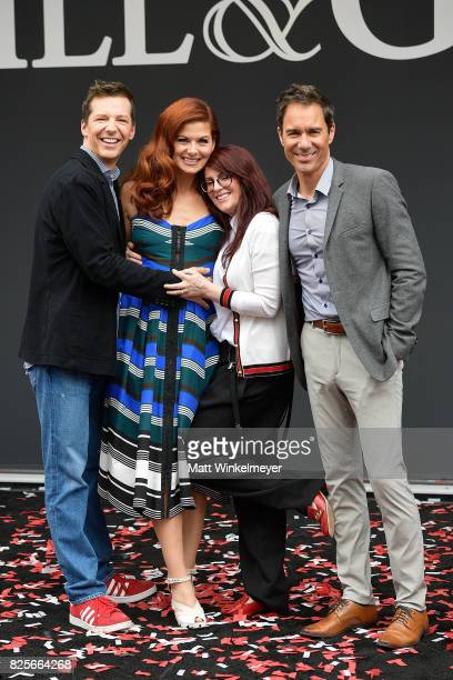 Actors Sean Hayes Debra Messing Megan Mullally and Eric McCormack attend the 'Will Grace' ribbon cutting Ceremony on August 2 2017 in Los Angeles...