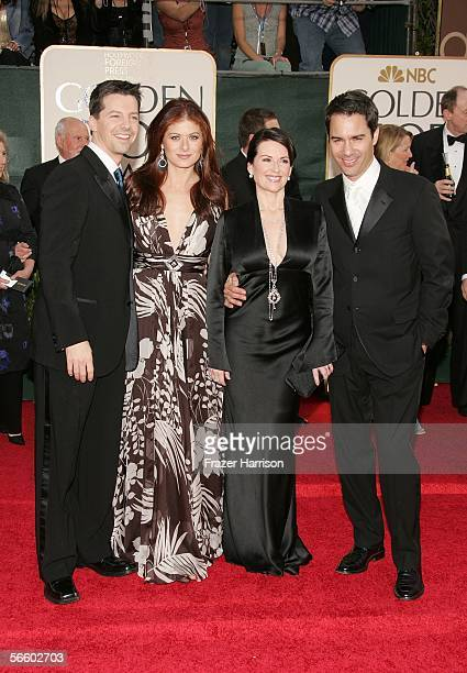 Actors Sean Hayes Debra Messing Megan Mullally and Eric McCormack arrive to the 63rd Annual Golden Globe Awards at the Beverly Hilton on January 16...