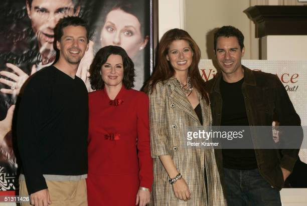 Actors Sean Hayes Megan Mullally Debra Messing and Eric McCormack make an appearance at Barne's and Noble to sign copies of the Will and Grace album...