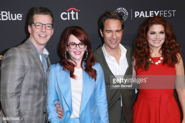 Actors Sean Hayes Megan Mullally Eric McCormack and Debra Messing attends the 2018 PaleyFest Los Angeles NBC's 'Will Grace' at Dolby Theatre on March...
