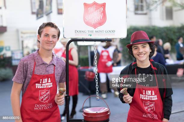 Actors Sean Leo and Hunter Payton attend The Salvation Army Celebrity Kettle Kickoff Red Kettle Hollywood at the Original Farmers Market on November...