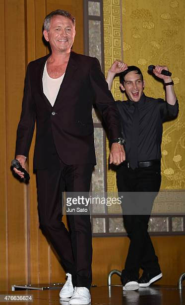 Actors Sean Pertwee and Robin Lord Taylor attend the press conference for 'Gotham' at The RitzCarlton Tokyo on June 11 2015 in Tokyo Japan