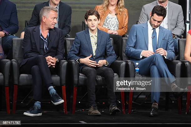 Actors Sean Pertwee, David Mazouz and Tom Ellis speak onstage at 'Gotham/Lucifer' panel discussion during the FOX portion of the 2016 Television...