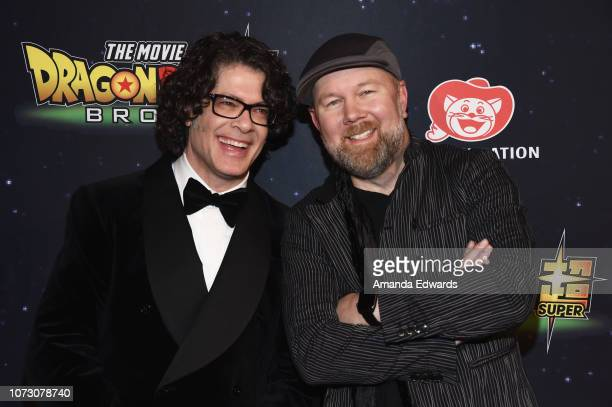Actors Sean Schemmel and Christopher Sabat arrive at Funimation Films' Premiere of 'Dragon Ball Super Broly' at the TCL Chinese Theatre on December...
