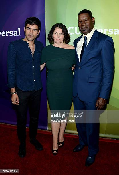 Actors Sean Teale Julia Ormond and Dennis Haysbert attends the NBCUniversal press day 2 during the 2016 Summer TCA Tour at The Beverly Hilton Hotel...