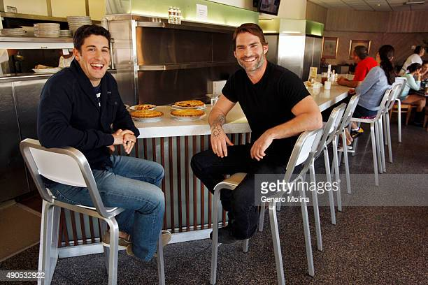 Actors Seann William Scott and Jason Biggs are photographed for the Los Angeles Times on April 2 2012 in Los Angeles California PUBLISHED IMAGE...