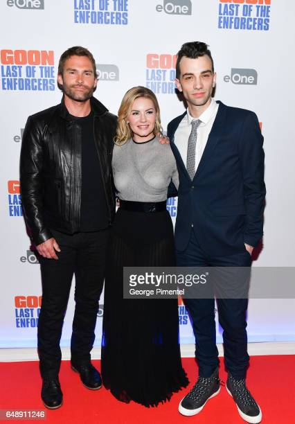 Actors Seann William Scott Elisha Cuthbert and Jay Baruchel attend Goon Last Of The Enforcers Premiere at Scotiabank Theatre on March 6 2017 in...