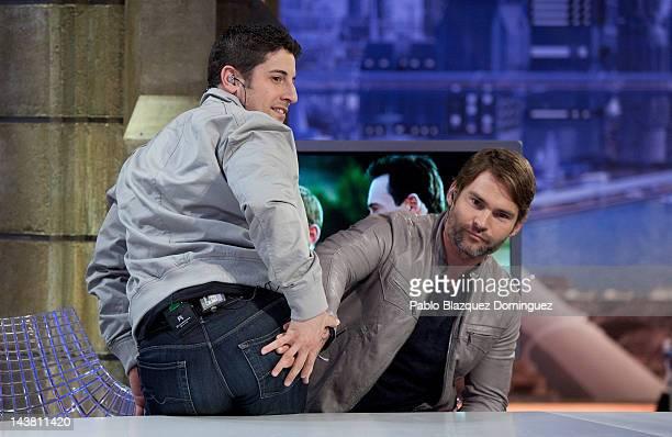 Actors Seann Willian Scott and Jason Biggs attend 'El Hormiguero' Tv Show at Vertice Studios on May 3, 2012 in Madrid, Spain.