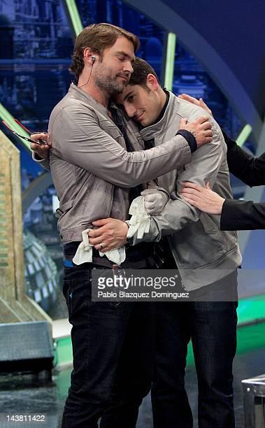 Actors Seann Willian Scott and Jason Biggs attend 'El Hormiguero' Tv Show at Vertice Studios on May 3 2012 in Madrid Spain
