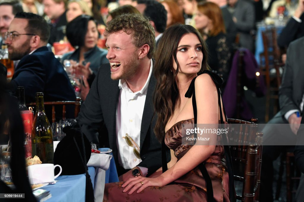 Actors Sebastian Bear-McClard (L) and Emily Ratajkowski attend the 2018 Film Independent Spirit Awards on March 3, 2018 in Santa Monica, California.