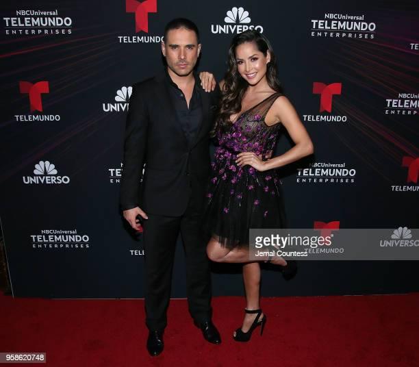 Actors Sebastian Caicedo and Carmen Villalobos attend the 2018 Telemundo Upfront at the Park Avenue Armory on May 14 2018 in New York City