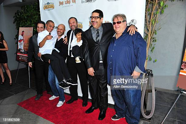 Actors Sebastian Maniscalco Eman Morgan Maz Jobrani director Ahmed Ahmed Eric Griffin and Angelo Tsarouchas arrive at the 'Just Like Us' Los Angeles...