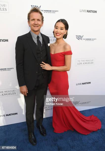 Actors Sebastian Roche and Alicia Hannah at The Humane Society of the United States' To the Rescue Los Angeles Gala at Paramount Studios on April 22...