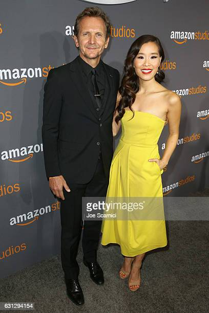 Actors Sebastian Roche and Alicia Hannah attend Amazon Studios Golden Globes Celebration at The Beverly Hilton Hotel on January 8 2017 in Beverly...