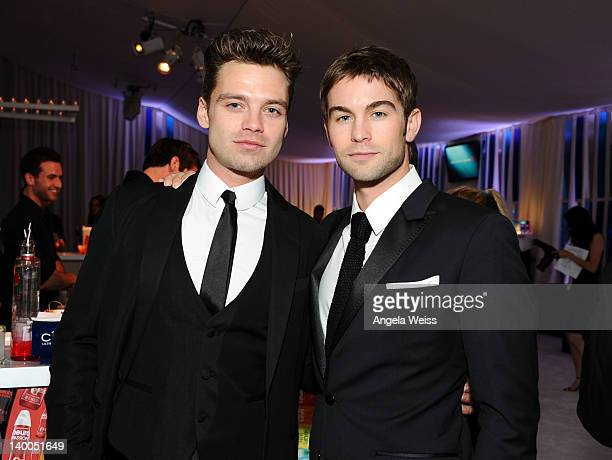 Actors Sebastian Stan and Chace Crawford attend CIROC Vodka at 20th Annual Elton John AIDS Foundation Academy Awards Viewing Party at The City of...