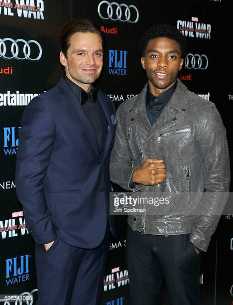 Actors Sebastian Stan and Chadwick Boseman attend the screening of Marvel's Captain America Civil War hosted by The Cinema Society with Audi FIJI at...