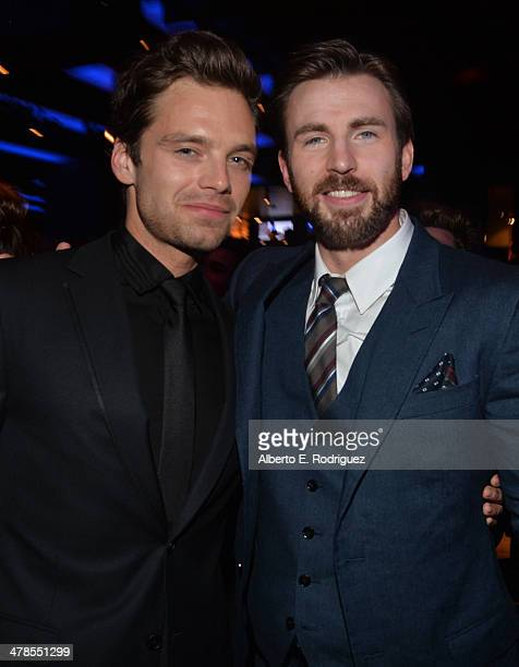 Actors Sebastian Stan and Chris Evans attend the after party for Marvel's Captain America The Winter Soldier premiere at the El Capitan Theatre on...