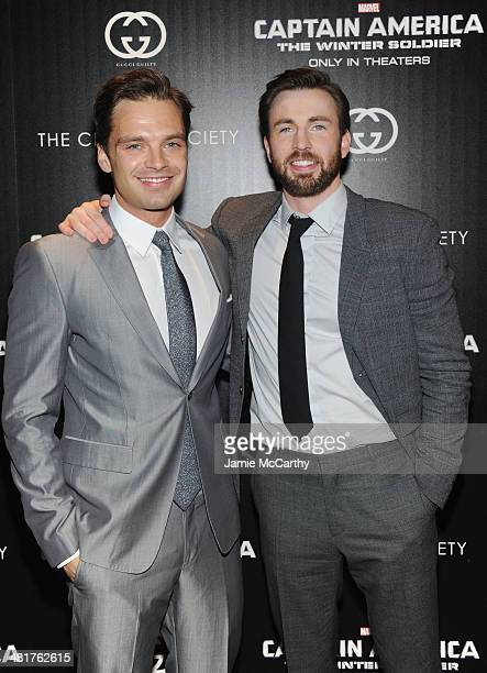 Actors Sebastian Stan and Chris Evans attend The Cinema Society Gucci Guilty screening of Marvel's Captain America The Winter Soldier at Tribeca...