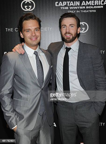 Actors Sebastian Stan and Chris Evans attend The Cinema Society Gucci Guilty screening of Marvel's 'Captain America The Winter Soldier' at Tribeca...