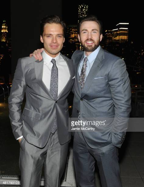 Actors Sebastian Stan and Chris Evans attend The Cinema Society Gucci Guilty screening of Marvel's 'Captain America The Winter Soldier' after party...