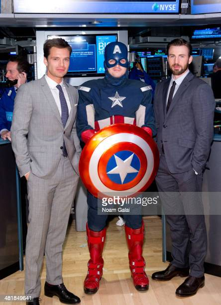 Actors Sebastian Stan and Chris Evans stars of Marvels 'Captain America The Winter Soldier' visit the New York Stock Exchange on April 1 2014 in New...
