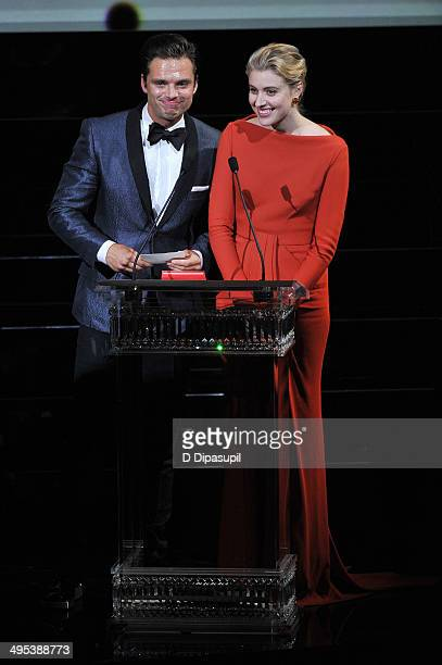 Actors Sebastian Stan and Greta Gerwig appear onstage at the 2014 CFDA fashion awards at Alice Tully Hall Lincoln Center on June 2 2014 in New York...