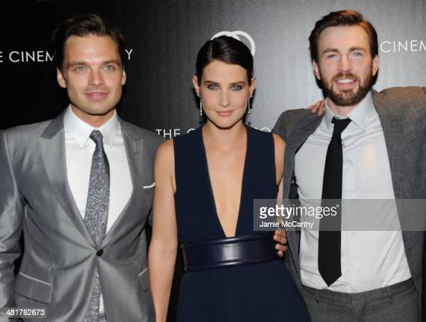 Actors Sebastian Stan Cobie Smulders and Chris Evans attend The Cinema Society Gucci Guilty screening of Marvel's Captain America The Winter Soldier...