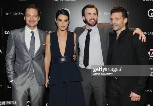 Actors Sebastian Stan Cobie Smulders Chris Evans and Frank Grillo attend The Cinema Society Gucci Guilty screening of Marvel's Captain America The...