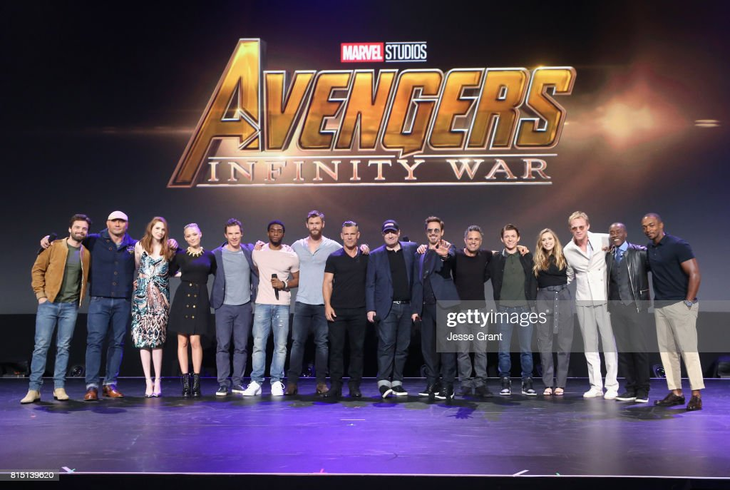 Actors Sebastian Stan, Dave Bautista, Karen Gillan, Pom Klementieff, Benedict Cumberbatch, Chadwick Boseman, Josh Brolin, and Chris Hemsworth, producer Kevin Feige, and actors Robert Downey Jr., Mark Ruffalo, Tom Holland, Elizabeth Olsen, Paul Bettany, Don Cheadle, and Anthony Mackie of