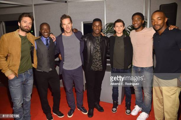 Actors Sebastian Stan Don Cheadle and Benedict Cumberbatch of AVENGERS INFINITY WAR John Boyega of STAR WARS THE LAST JEDI and Tom Holland Chadwick...