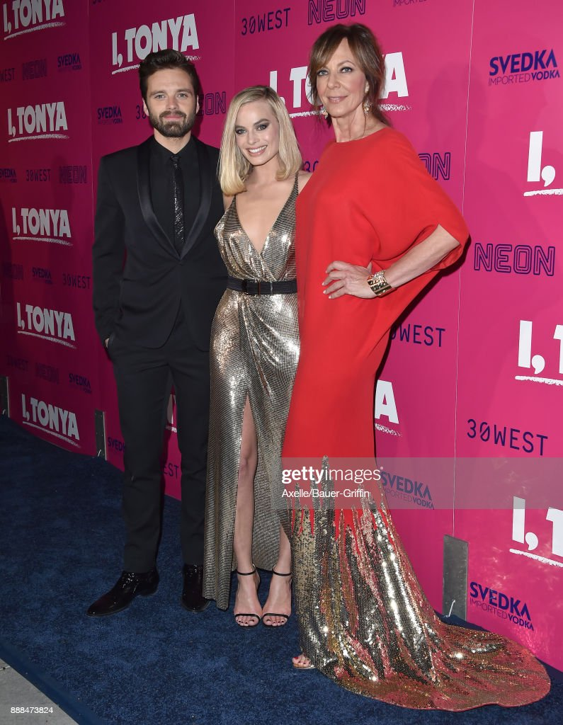 Actors Sebastian Stan, Margot Robbie and Allison Janney attend the Los Angeles premiere of 'I, Tonya' at the Egyptian Theatre on December 5, 2017 in Hollywood, California.