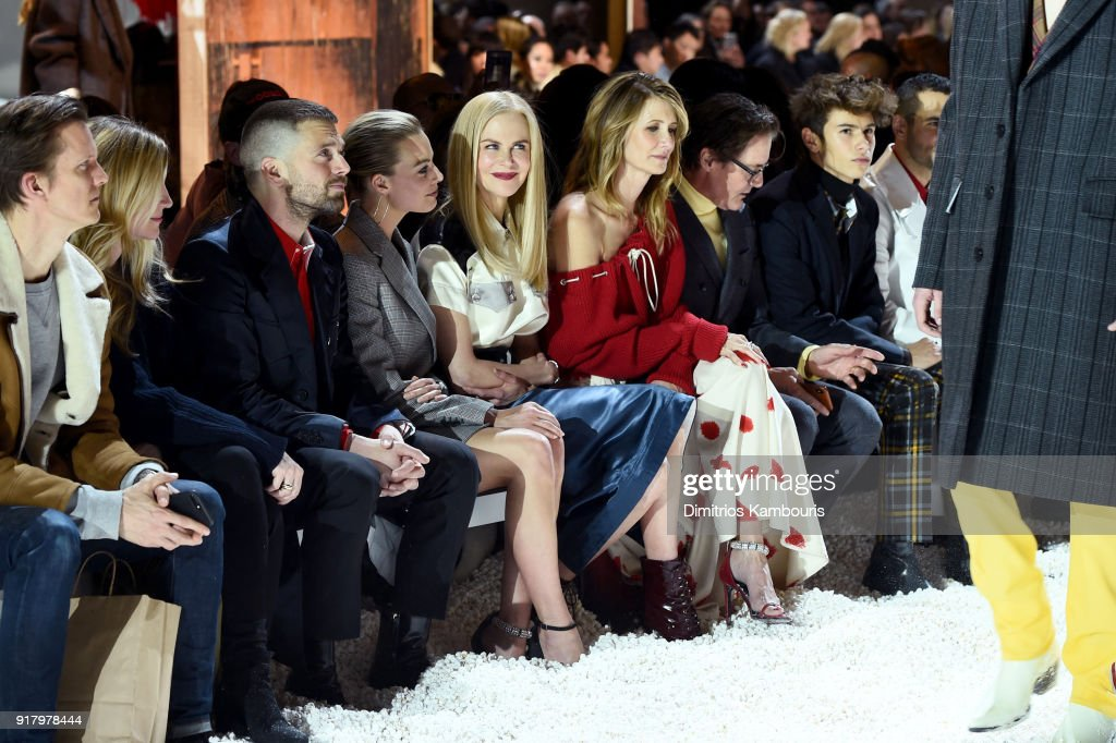 Actors Sebastian Stan, Margot Robbie, Nicole Kidman, Laura Dern, Kyle MacLachlan, and Ellery Walker Harper attend the Calvin Klein Collection front row during New York Fashion Week at New York Stock Exchange on February 13, 2018 in New York City.