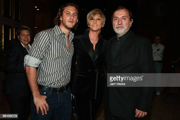 Actors Sebastian Zurita Christian Bach and the producer Epigmenio Ibarra pose for a photograph during the presentation of the series Las Aparicio at...