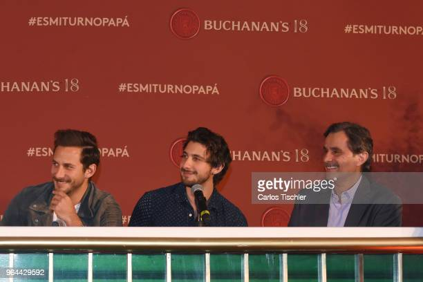 Actors Sebastian Zurita Emiliano Zurita and Humberto Zurita smile during a press conference organized by Buchanan's Whiskey as part of a campaign to...