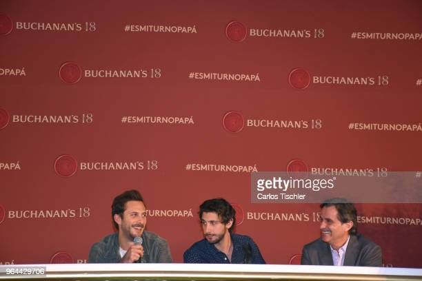 Actors Sebastian Zurita Emiliano Zurita and Humberto Zurita speak during a press conference organized by Buchanan's Whiskey as part of a campaign to...