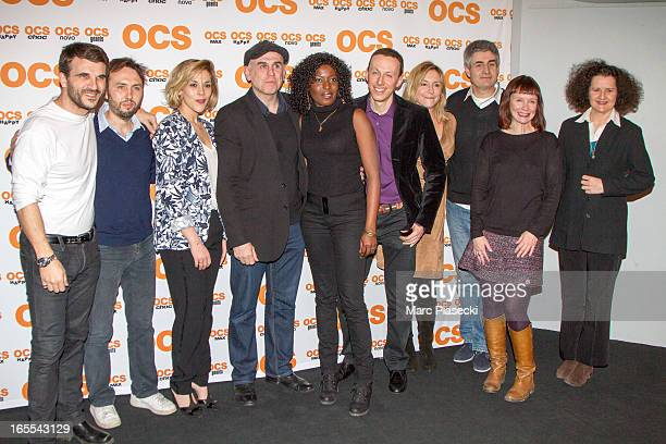 Actors Sebastien Barrio actress Alysson paradis Philippe Vieux Jeanne Savary Alain Dion and sandrine Le Berre attend the 'QI' Premiere at Forum Des...
