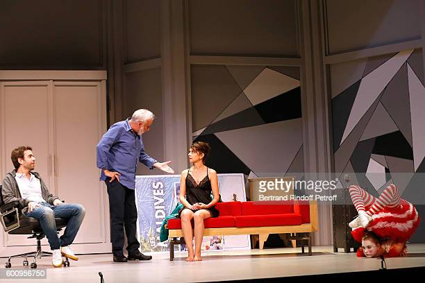 "Actors Sebastien Castro; Francois Berleand, Constance Dolle and Ines Valarcher perform during the ""Moi, moi et Francois B. "" : Theater Play..."
