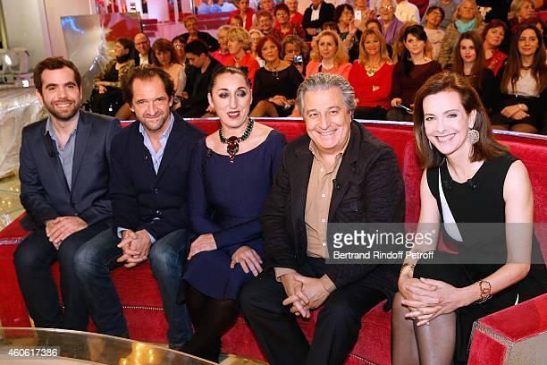 Actors Sebastien Castro, Stephane de Groodt, Rossy de Palma, Christian Clavier and main guest of the show, actress Carole Bouquet present the movie...