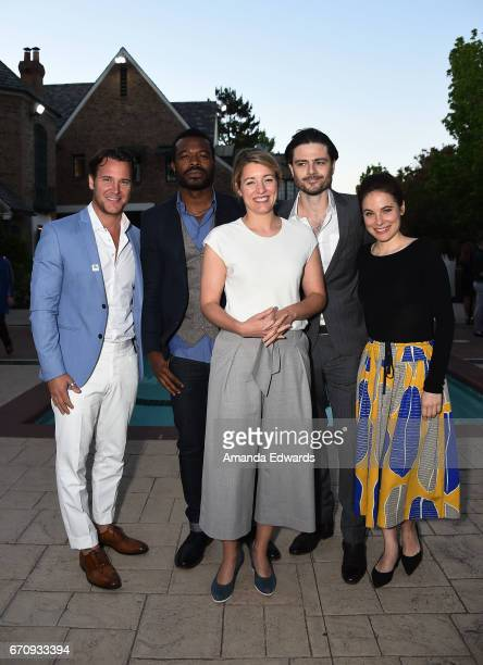 Actors Sebastien Roberts and Lyriq Bent the Minister of Canadian Heritage The Honourable Melanie Joly and actors Richard Short and Caroline Dhavernas...