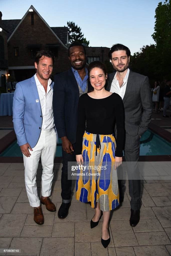 Actors Sebastien Roberts, Lyriq Bent, Caroline Dhavernas and Richard Short attend the premiere of 'Mary Kills People' at the Official Residence Of Canada on April 20, 2017 in Los Angeles, California.