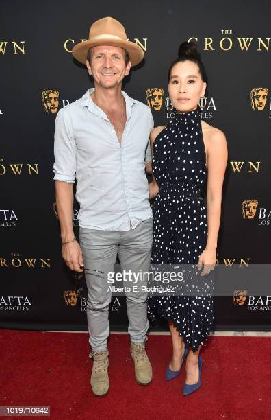 Actors Sebatian Roche and Alicia Hannah attend the BAFTALA Summer Garden Party at The British Residence on August 19 2018 in Los Angeles California