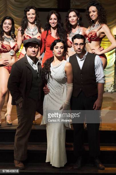 Actors Secun de la Rosa, Chanel Terrero and Christian Sanchez pose for the photographers during the 'El Continental' filming on June 19, 2018 in San...