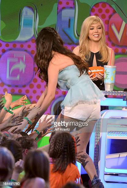 Actors Selena Gomez and Jennette McCurdy onstage at Nickelodeon's 26th Annual Kids' Choice Awards at USC Galen Center on March 23, 2013 in Los...