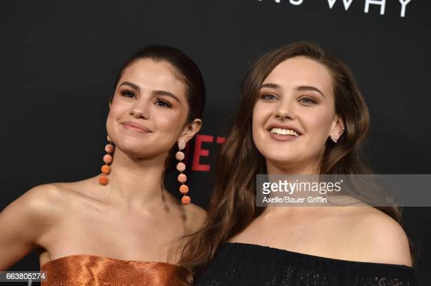 Actors Selena Gomez and Katherine Langford arrive at the Premiere of Netflix's '13 Reasons Why' at Paramount Pictures on March 30 2017 in Los Angeles...