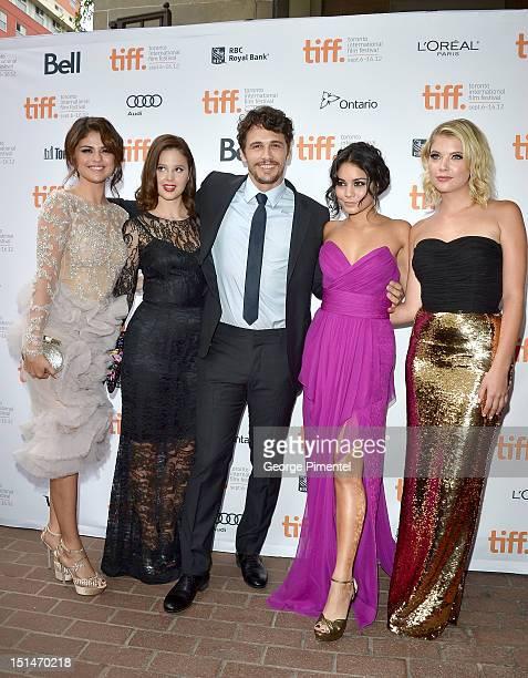 Actors Selena Gomez Rachel Korine James Franco Vanessa Hudgens and Ashley Benson attend the Spring Breakers premiere during the 2012 Toronto...