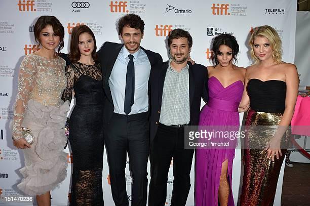 Actors Selena Gomez Rachel Korine James Franco writer/Director Harmony Korine actresses Vanessa Hudgens and Ashley Benson attend the 'Spring...