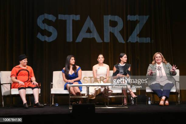 Actors Ser Anzoategui Chelsea Rendon Mishel Prada Melissa Barrera and Creator/Executive Producer/Showrunner Tanya Saracho of 'Vida' speak onstage...