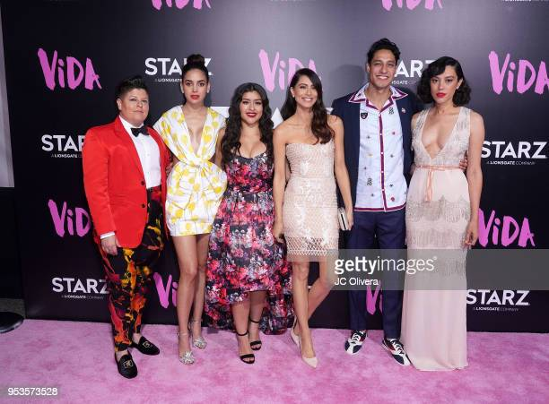 Actors Ser Anzoategui Melissa Barrera Chelsea Rendon Maria Elena Laas Carlos Miranda and Mishel Prada attend Starz 'Vida' premiere at Regal LA Live...