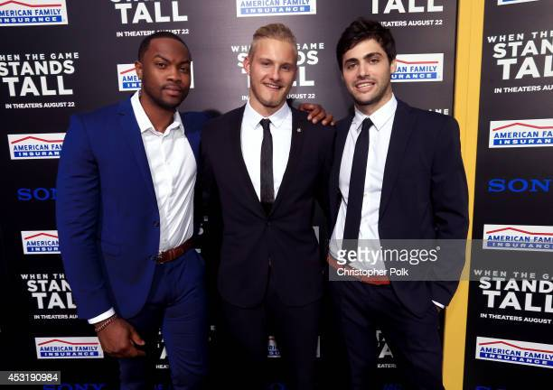 Actors Ser'Darius Blain Alexander Ludwig and Matthew Daddario attend the premiere of Tri Star Pictures' When The Game Stands Tall at ArcLight Cinemas...